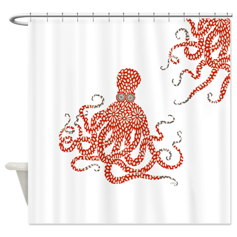 Red Floral Octopus Shower Curtain