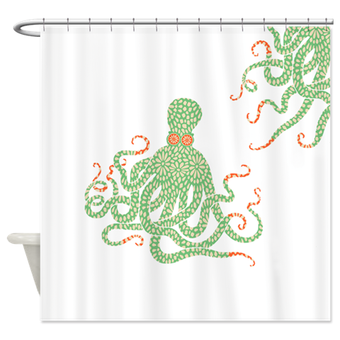 Green Floral Octopus Shower Curtain
