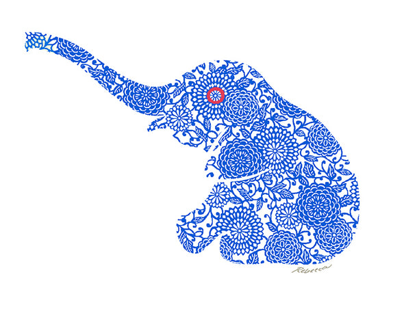 Blue Baby Elephant Notecard