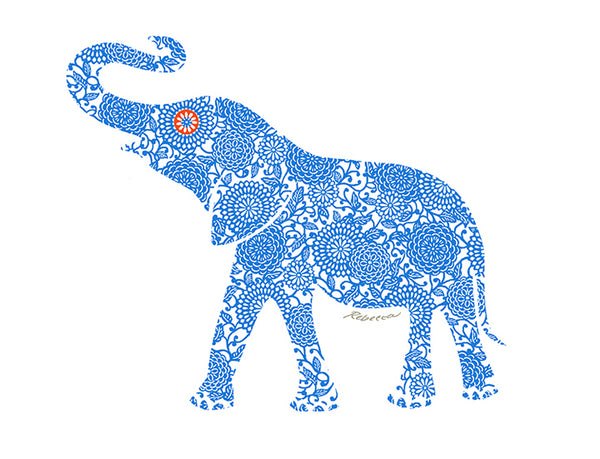 Blue  Elephant Notecard
