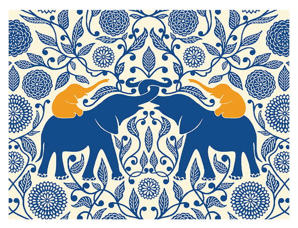 Blue Elephants with Golden Calves Notecard