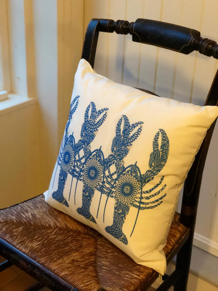 Triplet Blue Lobster Pillow