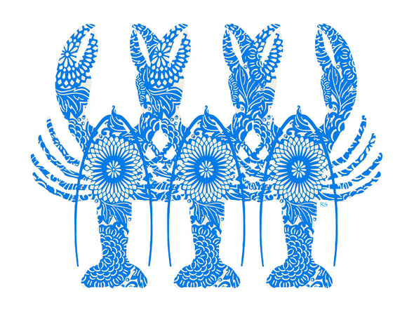 Blue Lobster Triplets Notecard