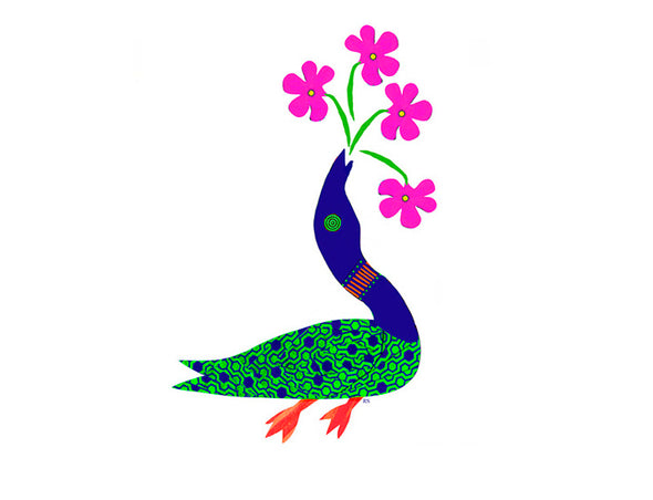 Loon with Flower Bouqet Notecard