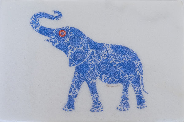 Blue Elephant on Marble Trivet