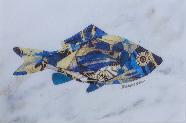 Nantucket Blue Fish on Marble Trivet