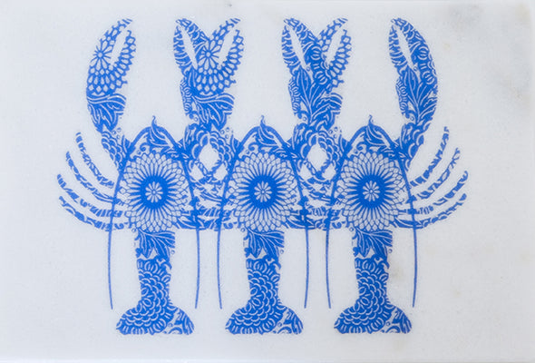 Blue Lobster Triplets on Marble Trivet