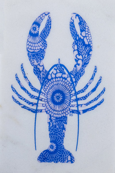 Blue Lobster Marble Trivet