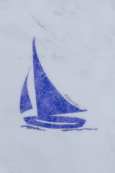 Blue Nike Sailboat Marble Trivet