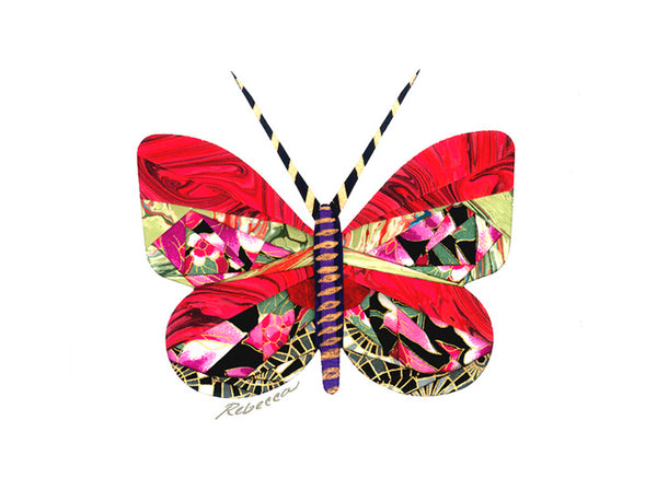 Marbelized Ruby Butterfly Notecard
