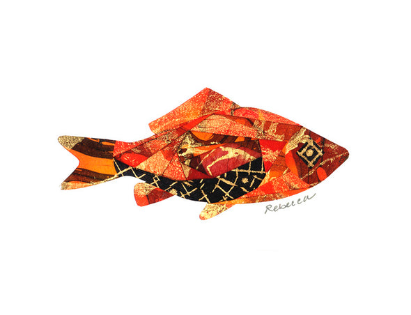 Orange Criss Cross Fish Notecard