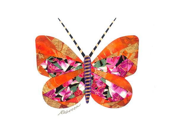 Orange Sherbet Butterfly  Notecard