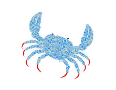Pedicured Blue Crabbie Notecard