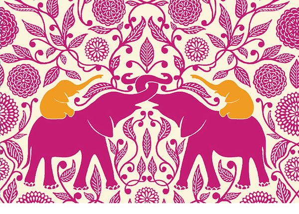 Raspberry Elephants with Golden Calves Notecard