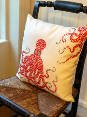 Red Floral Octopus Pillow