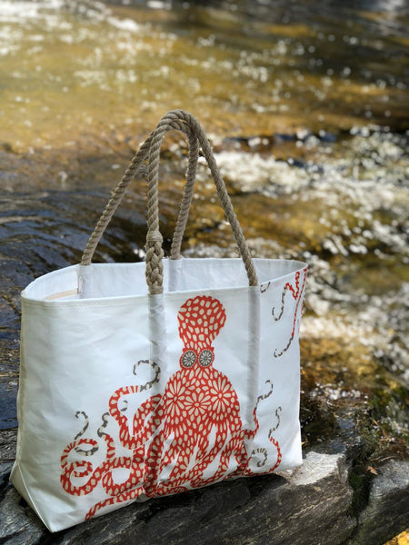 Large Red Floral Octopus Tote