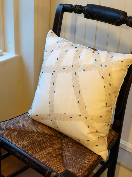 Nautical Rope with Blue Accents Pillow
