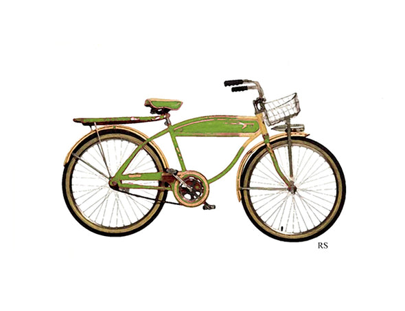Vintage Green Bicycle Notecard