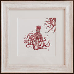 Red Floral Octopus Framed Print