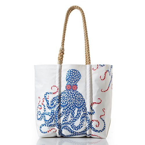 Medium Blue Floral Octopus Tote