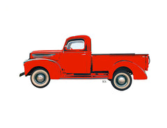 Red Vintage Truck Notecard