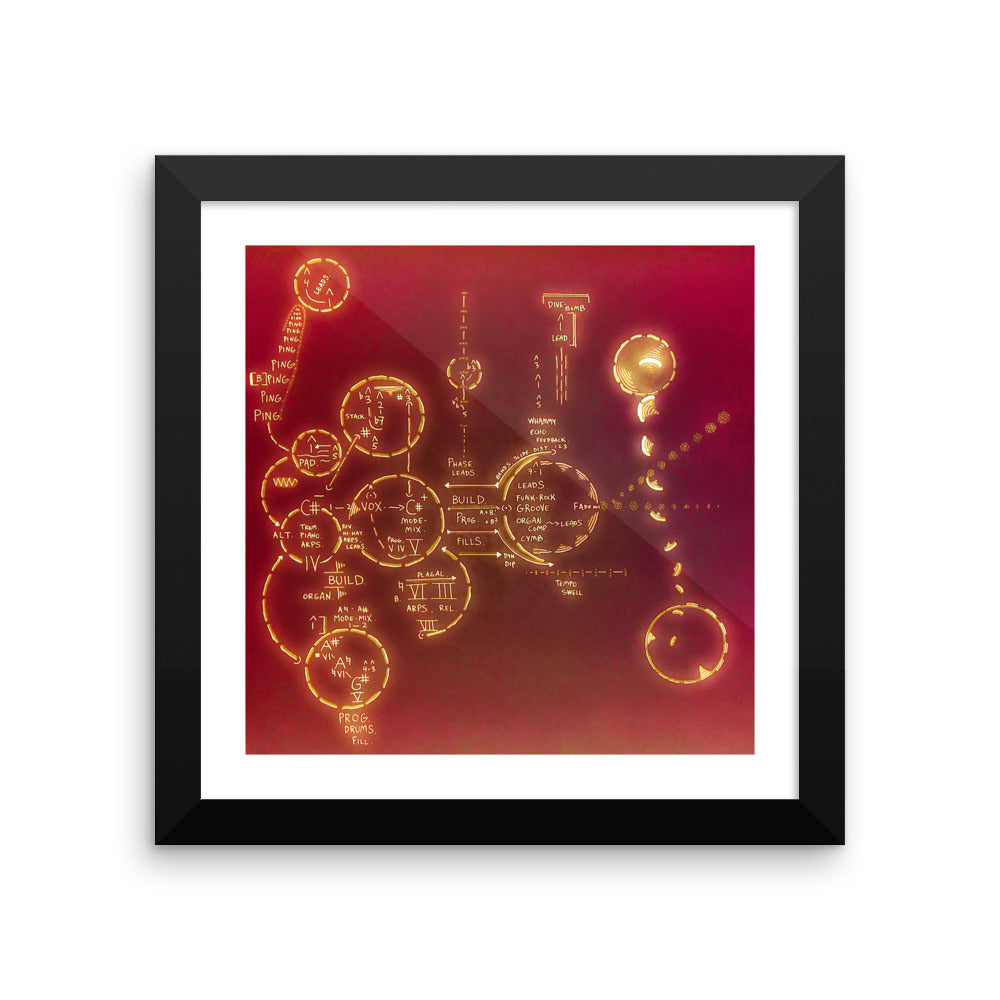 Echoes (Red) Framed Microprint (10x10/12x12)
