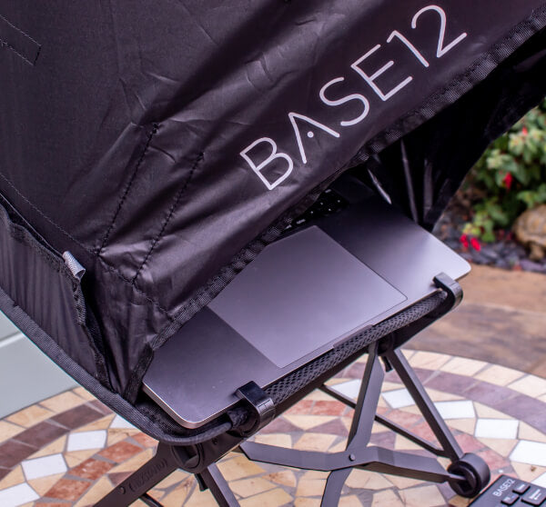 Nexstand laptop stand using a laptop shade