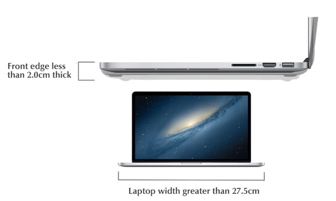 The K2 fits all laptops with a front edge of less than 2cm