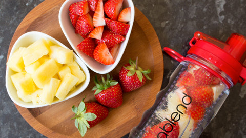 strawberry and pineapple infused water water bottle
