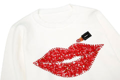Lips and lipstick knit sweater one size
