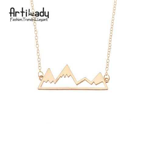 Artilady Dainty Snowy Mountain Necklace