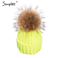 Removable Real Fur Pompom Hat