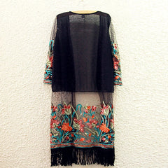 Long Bohemian Kimono with Fringe & Floral Embroidery