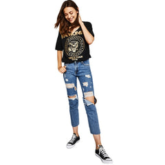 Cute Cutout Metallic Ramones Tour Tee