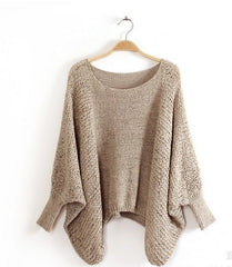 Loose Crew Neck Batwing Sleeve Sweater