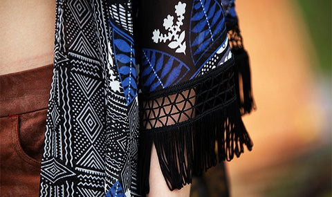 Bright Bohemian Kimono with Crocheted Fringe Tassles