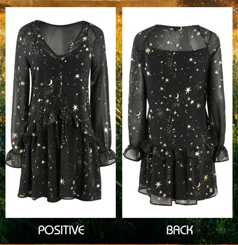 Star Moon Silhouette Spring Dress