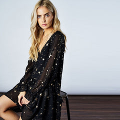 Stars & Moons Butterfly Sleeve Dress