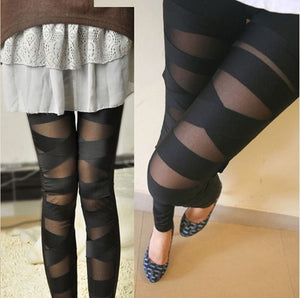 Leggings Mesh Womens Leggings Sexy Halloween Gothic Legging Slim Black Punk Rock Cross Elastic Bandage Femme Pants - Van & Stuyvesant