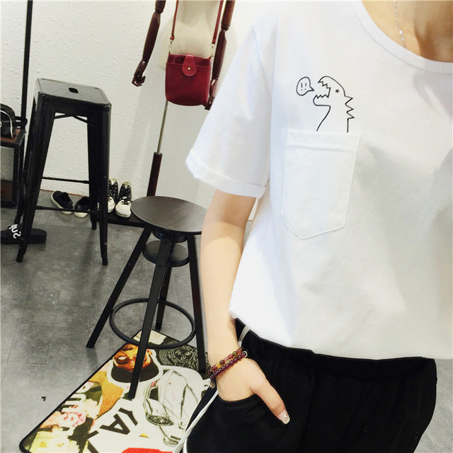 EAST KNITTING H487 New 2016 Summer Korean Style Fashion Loose Girl Women's O-neck Short Sleeve Dinosaurs Print Women T shirt