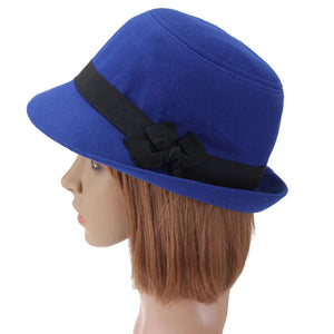 Fall Winter Women Hard  Fedoras Vintage Fashion Polyeste Solid Hat Trendy Bowler Derby Hats Felt Bowknot FedoraCloche Caps