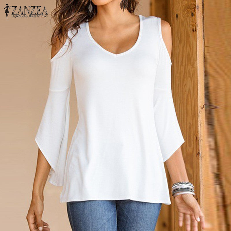 Autumn Shirts 2017 ZANZEA Women Blouses Sexy Off Shoulder V Neck Flare Sleeve Casual Solid Slim Blusas Plus Size Tops - Van & Stuyvesant
