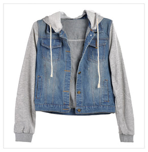 2017 Winter Spring Jacket Women Denim Coat Hooded Jacket Women Loose Jean Baseball Sportwear Denim Jackets Spring Women Coat#40 - Van & Stuyvesant