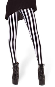 EAST KNITTING  New Arrival Beetlejuice Leggings Black white vertical stripe print pants