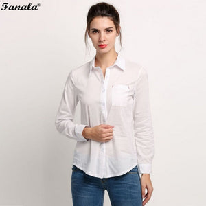 2017 White Shirt Summer Style Women Work Wear Long-Sleeve Slim Women Tops Blouses Sexy Turn Down Collar Cotton Basic Shirts - Van & Stuyvesant