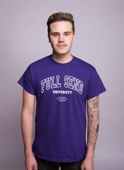 FULL SEND University T-Shirt Purple