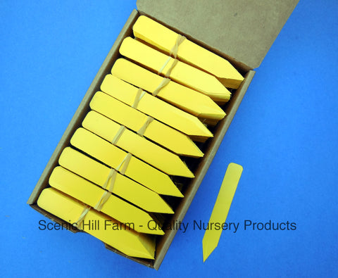 "Yellow Plastic Plant Stakes Labels Nursery Tags - Made in USA 4"" X 5/8"""