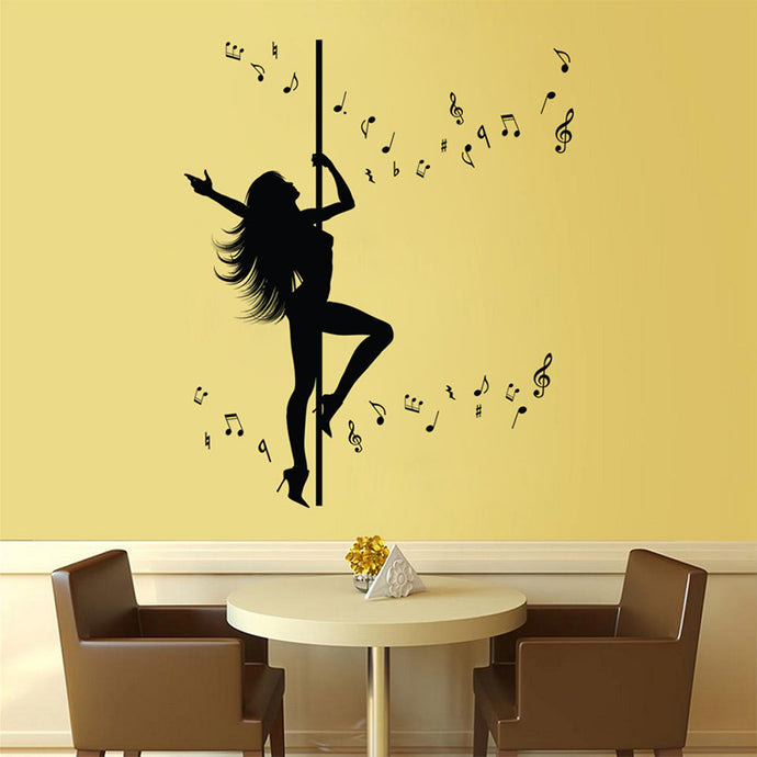 Pole Dancing Girl with Music - Wall Sticker