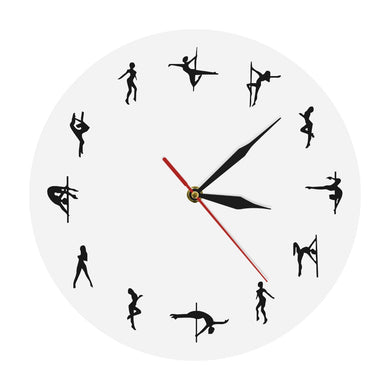 Pole Dancers Minimal Design Wall Clock