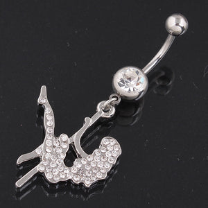 Pole Dancing Girl Belly Button Ring